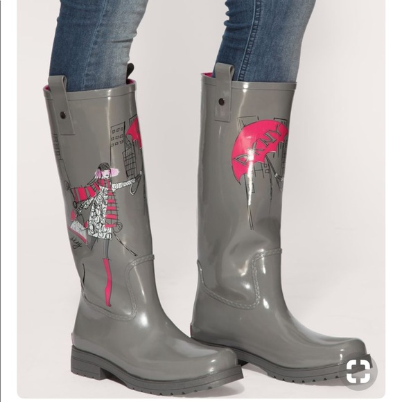 6165a10befb5 Dkny Shoes - DKNY Niagara Wellington rain boot in gray and pink